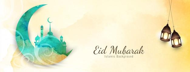 Eid mubarak festival hermoso diseño de banner
