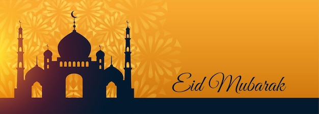 Eid mubarak festival mezquita hermosos deseos banner