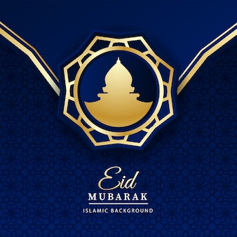 Eid mubarak fondo con mezquita dentro de adorno