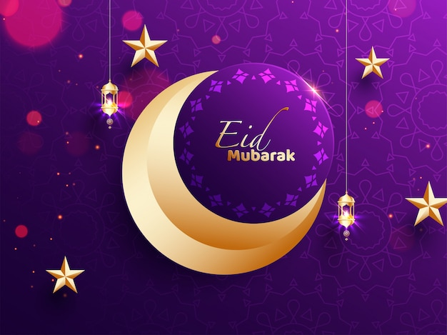 Eid mubarak. fondo púrpura brillante bokeh decorado con luna creciente, estrella