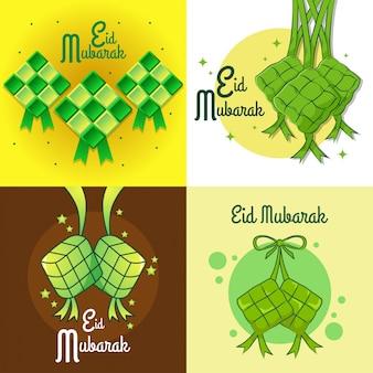 Eid mubarak con ketupat colgante para tarjeta de felicitación y otro propósito