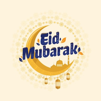 Eid mubarak moon diseño plano