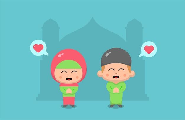Eid mubarak con niño y niña rezando