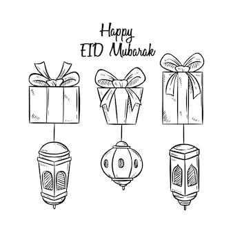Eid mubarak saludo con caja de regalo y linterna