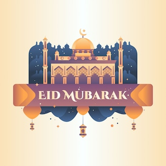 Eid mubarak saludo ilustración