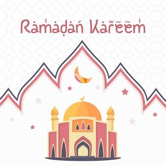 Eid mubarok con ilustración de mezquita, plantilla de tarjeta de felicitación islámica
