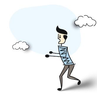 Ejecución de hombre de negocios sorprendido, ilustración de vector de dibujo dibujado a mano de dibujos animados.