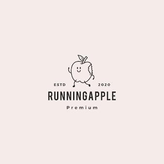 Ejecutando apple logo hipster vintage retro vector icono mascota de dibujos animados personaje ilustración