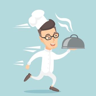 Ejecutando chef cocinero ilustración vectorial.