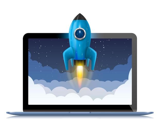 Ejecutando un cohete espacial desde una computadora, idea creativa de splash, fondo de cohete, vector