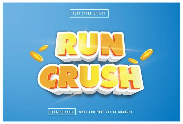 Ejecutar crush efecto de estilo de texto dorado editable vector premium