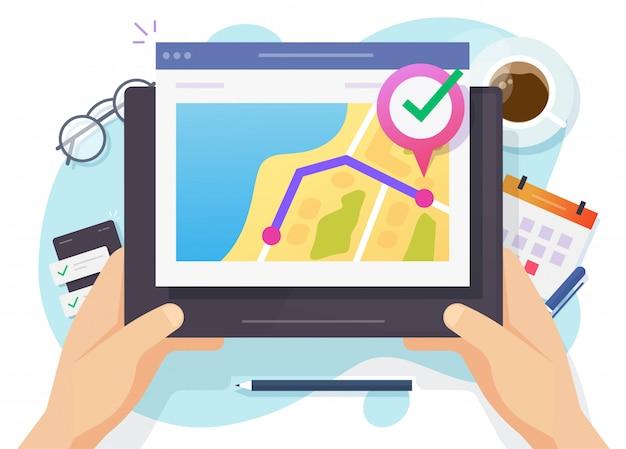 Ejecute la aplicación de ruta del rastreador de distancia en línea en el mapa de la ciudad a través de una tableta digital