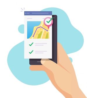 Ejecute la aplicación de seguimiento en línea en el mapa de la ciudad a través del teléfono inteligente