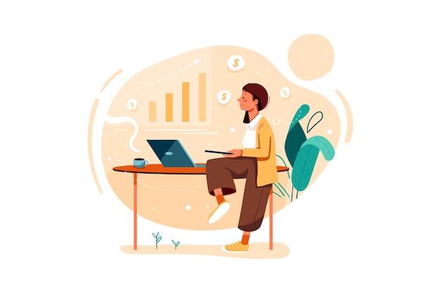 Ejecutivo de ventas analizando el crecimiento de las ventas ilustración
