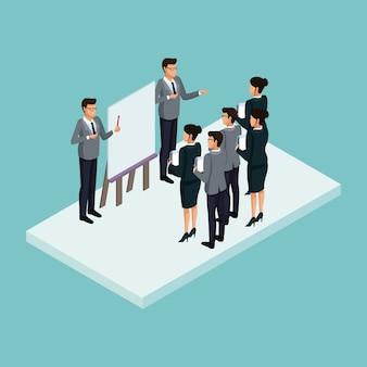 Ejecutivos en reunión de negocios concepto isométrico