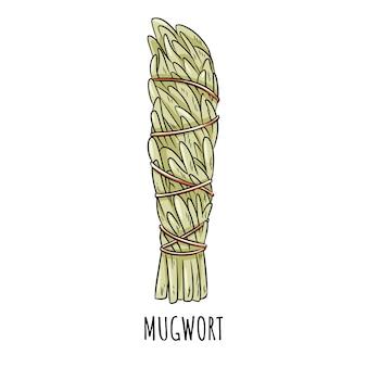 Ejemplo aislado garabato sabio del palillo de la mancha sabia. haz de hierba de artemisa