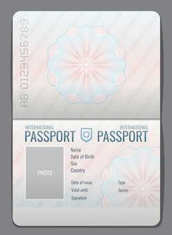 Ejemplo aislado plantilla abierta del vector del pasaporte en blanco documento para ilustración de viaje e inmigración.