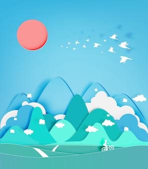 Ejemplo colorido del vector del fondo del estilo del corte del papel de la montaña