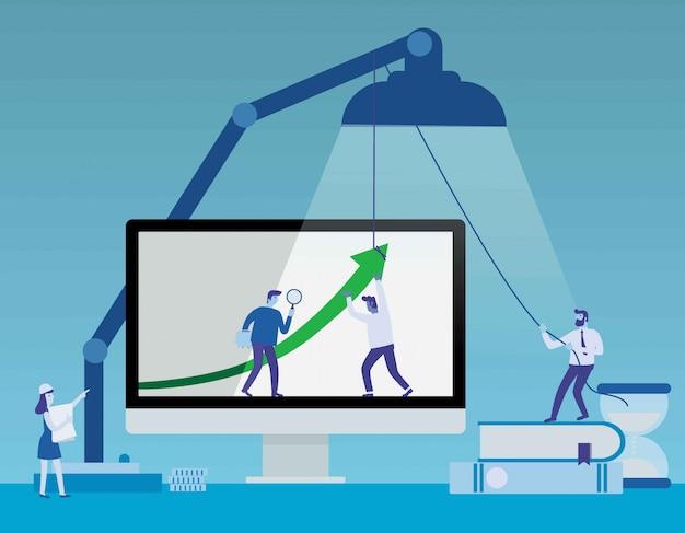 Ejemplo conceptual de la bandera del vector plano del negocio con los iconos aislados en fondo azul