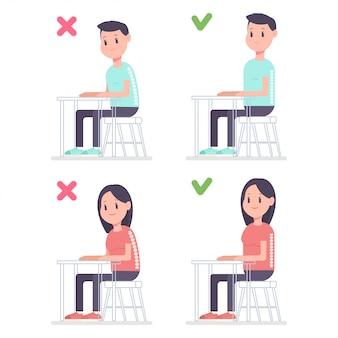 Ejemplo correcto de la historieta del vector de la postura con el hombre y la mujer que se sientan en el escritorio en la posición correcta e incorrecta.