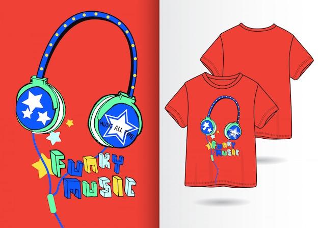 Ejemplo dibujado mano de las auriculares con diseño de la camiseta