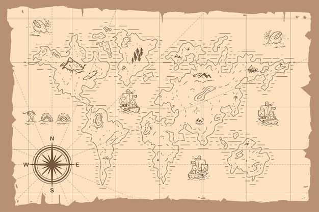 Ejemplo dibujado mano de la historieta del mapa del mundo del vintage