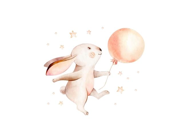 Ejemplo dibujado mano linda del conejito de la acuarela del animal del conejo de la historieta soñando