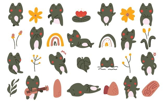 Ejemplo dibujado mano linda del doodle de la flor del sapo de la rana del bebé del estilo del color en colores pastel
