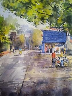 Ejemplo dibujado mano de la pintura del paisaje de la escena del pueblo de la acuarela