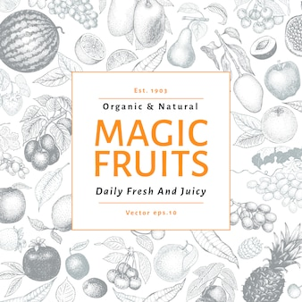 Ejemplo dibujado mano del vector de las frutas y de las bayas. diseño de banner estilo vintage grabado.