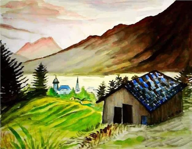 Ejemplo dibujado mano de la vista del paisaje de la colina de la naturaleza de la acuarela