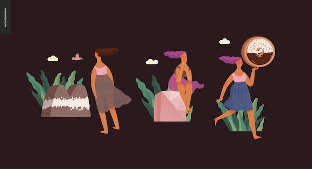 Ejemplo digital moderno del vector plano del concepto abc de la fuente del postre de la fuente de la tentación, de las letras dulces y de las muchachas. cartas de caramelo, toffee, galletas, gofres, galletas, crema y chocolate.