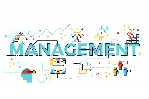 Ejemplo del diseño de la tipografía de las letras de la palabra de la gestión con los iconos y los ornamentos de la línea adentro