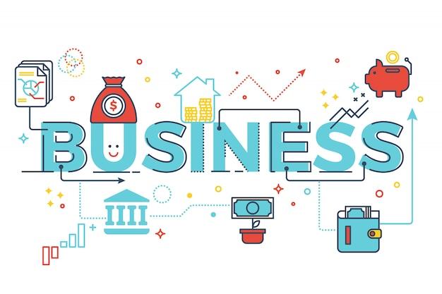 Ejemplo del diseño de la tipografía de las letras de la palabra del negocio con los iconos de la línea