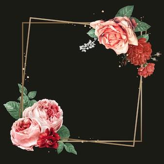 Ejemplo elegante de la acuarela del marco del oro de la peonía de la primavera