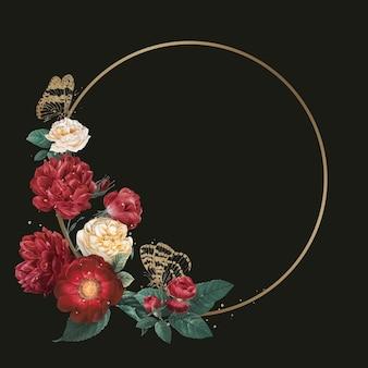 Ejemplo elegante de la acuarela del marco del vector del oro de la peonía de la primavera
