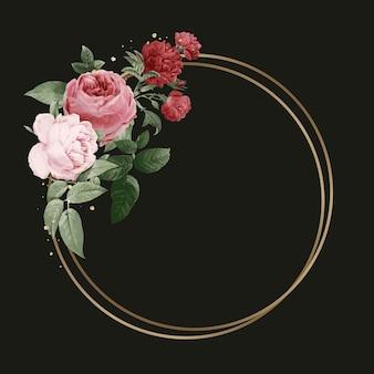 Ejemplo elegante de la acuarela del marco del vector del oro de la peonía del resorte