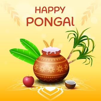 Ejemplo feliz de la tarjeta de felicitación del festival de la cosecha de la india del sur de pongal