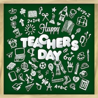 Ejemplo feliz del vector del día del profesor s en estilo de la pizarra.