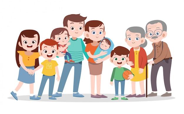 Ejemplo feliz del vector de la familia aislado