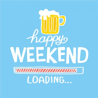 Ejemplo feliz del vector del garabato de la historieta de la cerveza del fin de semana