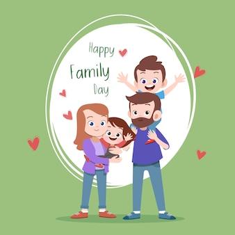 Ejemplo feliz del vector del saludo de la tarjeta del día de la familia