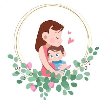 Ejemplo feliz del vector del saludo de la tarjeta del día de madres