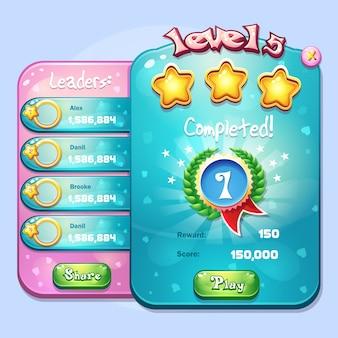 Ejemplo de finalización de nivel de ventana para un juego de computadora en estilo de dibujos animados