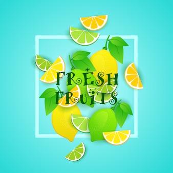 Ejemplo de las frutas frescas con el concepto sano orgánico de la comida de los limones y de las cales