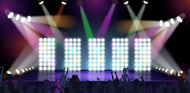 Ejemplo grande del vector de la etapa del concierto de la bandera.