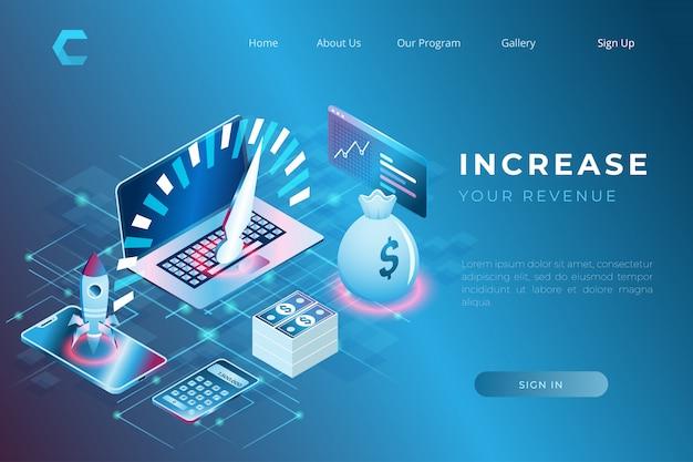 Ejemplo de impresión de inversiones y soluciones financieras para aumentar los ingresos y el crecimiento económico en estilo isométrico 3d