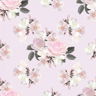 Ejemplo inconsútil del vector del modelo de la flor rosada