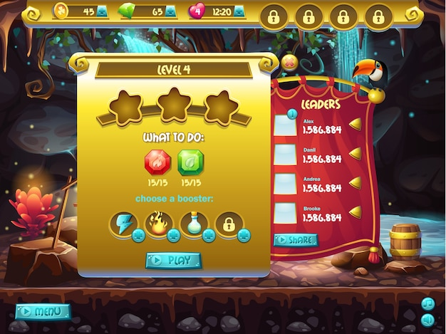 Ejemplo de interfaz de usuario de un juego de computadora, una pantalla para especificar el nivel de paso