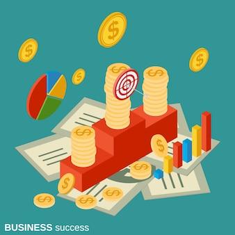 Ejemplo isométrico plano del concepto del vector del éxito empresarial